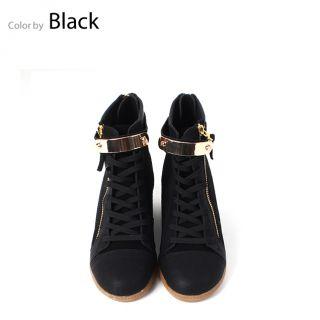 Glitter Gold Metal Deco Zip Increase Height Hidden Insole Wedge Heels
