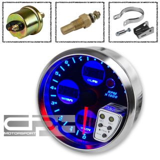 TACHOMETER METER GAUGE+WATER TEMPERATURE/OIL PRESSURE/VOLT+SHIFT LIGHT