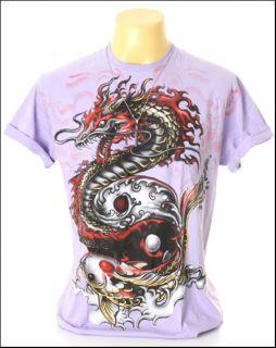 New Indie Rock Yakuza Tattoo Red Dragon Purple Men T Shirt Size L