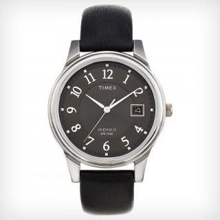 Timex Mens Black Leather Strap Watch Indiglo Date T29321