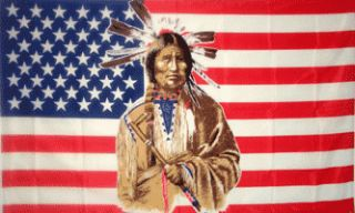 Patriotic USA Indian Feathers 3x5 American Flag Banner