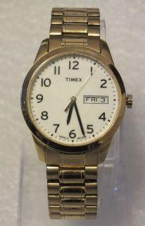 Timex Indiglo men gold tone white dial expansion bracelet quartz watch