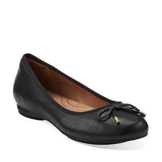 Indigo by Clarks Womens Plush Rosie Black Leather Flats 63071SHOES