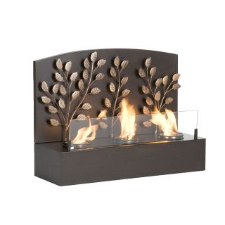 SEI Portable Indoor Outdoor Gel Fuel Fireplace Loft Glass Nickel Home