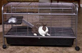Quality Two Level Rabbit Indoor Hutch Cage with Food Dish