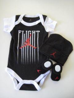 Jordan Infant New Born Baby Boy Girl Shoulder Bodysuit Booties and Cap