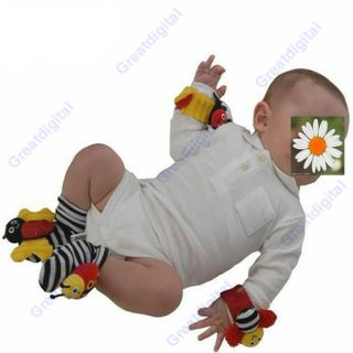 Pcs New Baby Toys High Contrast Ladybug Foot Socks Rattles Feet