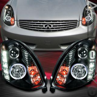 2003 2007 Infiniti G35 Black Halo LED Projector Headlights Coupe LH RH