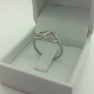Infinity Knot Ring Wedding Band 14k White or Yellow Gold