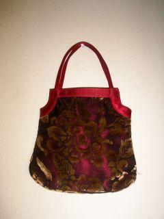 VICTORIA SECRET Red & Golden Rose Floral Velvety Small handbag clutch