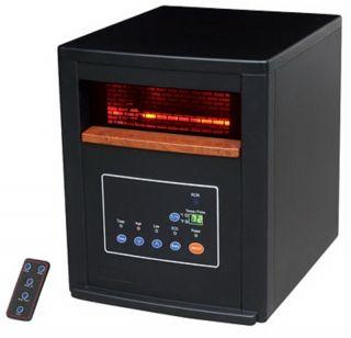 120V 1500 Watt 600 sqft Remote Control Black Infrared Heater