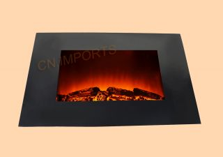 Flat Tempered Glass Panel Electric Fireplace Heater with Logs C510EL