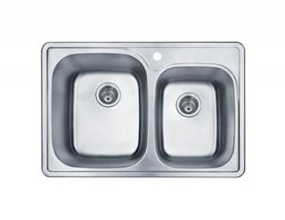 Sinks PL 911 33 Stainless Steel Top Mount Double Bowl Kitchen Sink