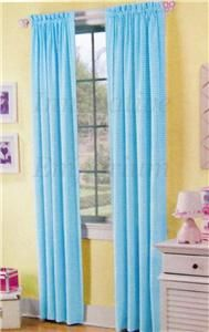 Blue Aqua Panel Curtain Checkered Kids Room Checker