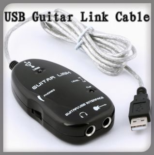 New USB to Guitar Interface Link Audio Cable for PC Mac Recording