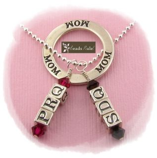 Mommy Mother Mom 2 Child Initial Birthstone Necklace