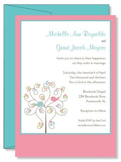 Personalized Love Birds in Tree Bridal Shower Wedding Invitations