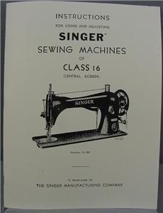 Singer 16 Sewing Machine Instruction Manual