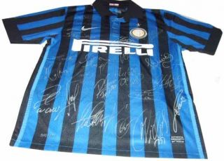 INTER MILAN SIGNED AUTOGRAPHED SHORT SLEEVED FOOTBALL SOCCER JERSEY