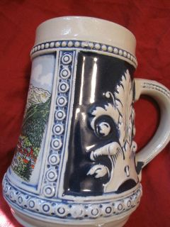 RARE GERZ BEER STEIN W GERMANY COBALT BLUE INTERLAKEN JUNGRAU CERAMIC