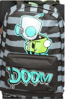 Invader Zim Gir Hooded Striped Doom Backpack School Book Bag Hoodie