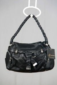 Makowsky Leather Iola Hobo Bag with Belt and Braided Strap Black