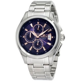 Invicta 1482 Mens Specialty Blue Textured Dial Chrono Stainless Steel