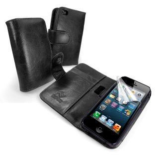 Luv Vintage Leather Wallet Style Case Cover for Apple iPhone 5   Black