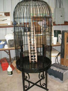 Large USD Black Wrought Iron Parrot Bird Cage on Wheels Domed Round