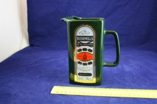 Collectable Bushmills Irish Whiskey Jug Green Red and Gold L10