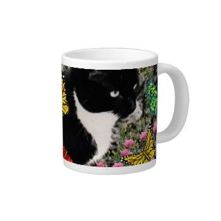 Freckles in Butterflies   Tux Kitty Cat Extra Large Mugs