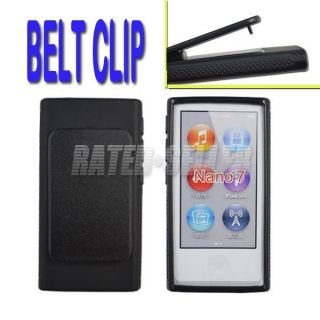 Black TPU Soft Rubber Case Cover Hard Belt Clip for Apple iPod Nano 7