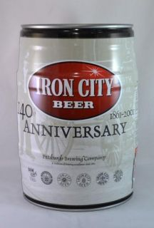 IRON CITY BEER 140 th ANNIVERSARY 1861 2001 MINI KEG PITTSBURGH