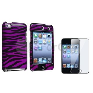 Purple Black Zebra Snap on Hard Case Cover LCD Film for iPod Touch 4