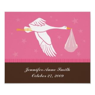 Personalized Baby Wall Art   Stork/Pink & Brown Posters