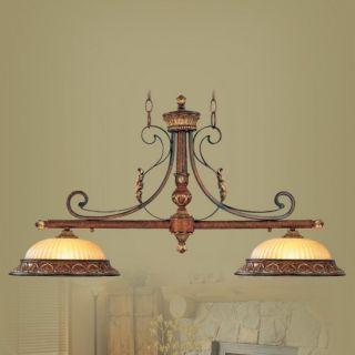 NEW 2 Light Island Pendant Lighting Fixture, Verona Bronze, Rustic Art