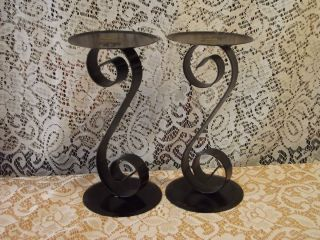 Black Wrought Iron Decor Metal Candle Holders Scrolled Pattern