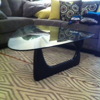 Isamu Noguchi Style Coffee Table Black Wood 3 4 Glass Mid Century