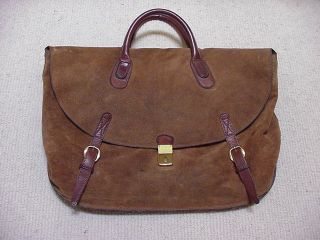 Isanti Brown Suede Leather Duffle Gym Bag Luggage Italy