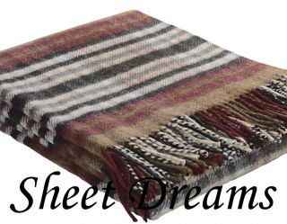 of Elgin Shetland Wool Brown Red Charcoal Fringed Throw Blanket New