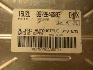 02 Isuzu Axiom Engine Computer ECU ECM PCM 8972648303