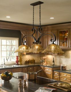 Bronze Amber Art Glass Kitchen Island Light Fixture Chandelier