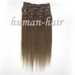 Natural Indian 7pcs Remy Clips in Human hair Extensions #10 Ash Brown