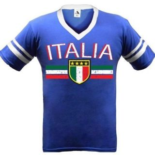 Italia Team Logo Mens V Neck Ringer T Shirts World Cup Soccer Football