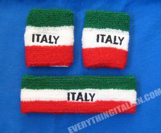 Italian Flag Wristband Headband Sweatbands Set Gym