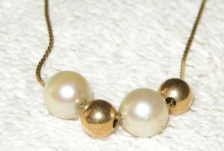 Beautiful 14k Italian Gold Bead Pearl Necklace Delicate 17 Chain Mint