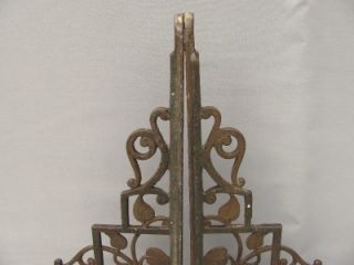 Pair Antique Cast Iron Shelf Brackets Flowering Vine Design Old