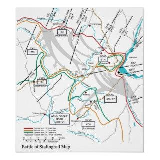 Map of the World War II Battle of Stalingrad Poster