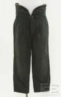 Isabel Marant Dark Gray Cotton Pleated Zipper Trim Pants Size 1