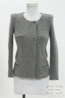 Etoile Isabel Marant Dark Grey Boucle Wool Snap Jacket Size 1